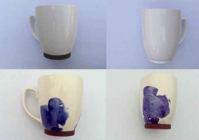 Design abstrait sur des tasses