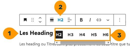 exemple des titres disponibles dans l'éditeur