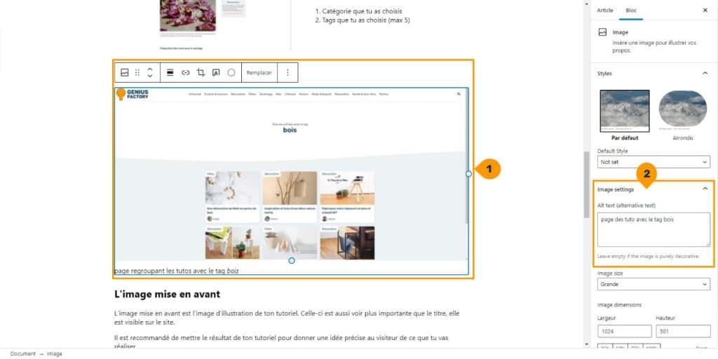 personnaliser le texte alternatif d'une image