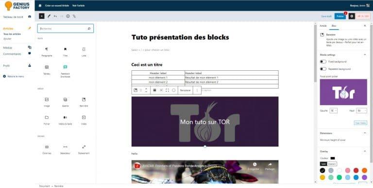 Présentation des différents blocks de l'éditeur d'article